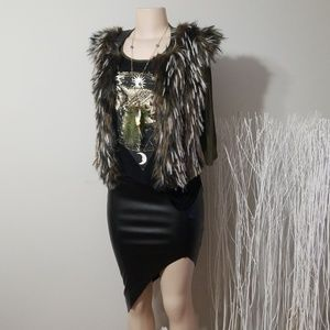 NEW! SANS SOUCI FAUX FUR & LEATHER STYLISH VEST!